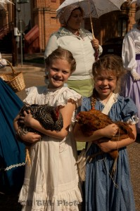 Little Girls with Chickens