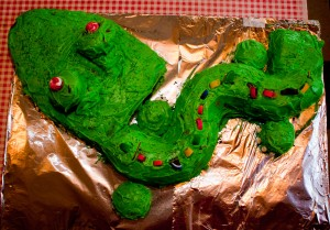 Gaston the Green Nose Gator Cake
